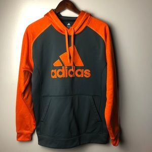 Adidas Orange and Grey Hoodie Size Medium